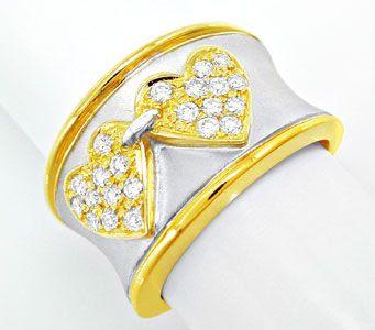 Foto 1, Einmalig! Designer-Brillant-Ring 18K Bicolor Luxus! Neu, S8708