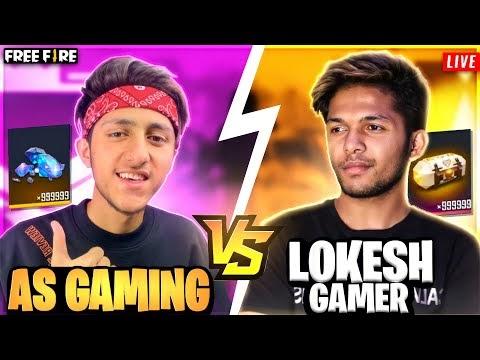 A_S GAMING VS LOKESH GAMER WORLD WAR !WINZO FREE FIRE LIVE
