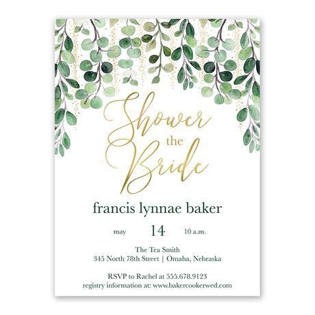 Glam Greens Bridal Shower Invitation   Ann's Bridal Bargains