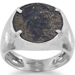Ancient Roman Coin Mens Ring Sterling Silver