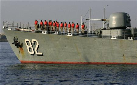 Iranian Navy destroyer Shahid Naqdi is pictured at Port Sudan at the Red Sea State