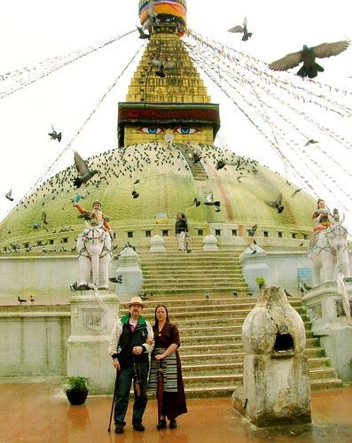 Friends at Wish Fulfilling Stupa, next to Sur offering furnance, Boudha, Kathmandu, Nepal