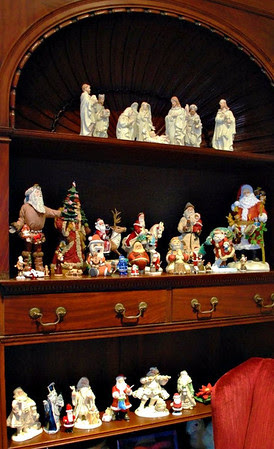 Nativity and Santa Figurines on the built-in shelves