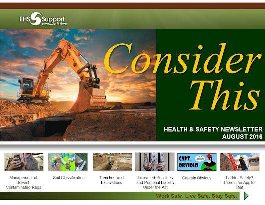 'Consider This' - EHS Support's Health & Safety Newsletter – Aug 2016 Edition