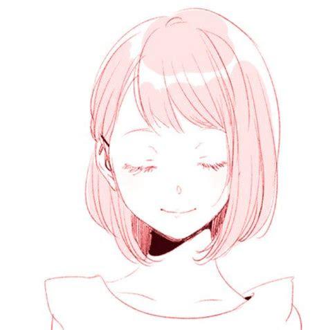anime pink cute girl smile aesthetic art edit  sofiah