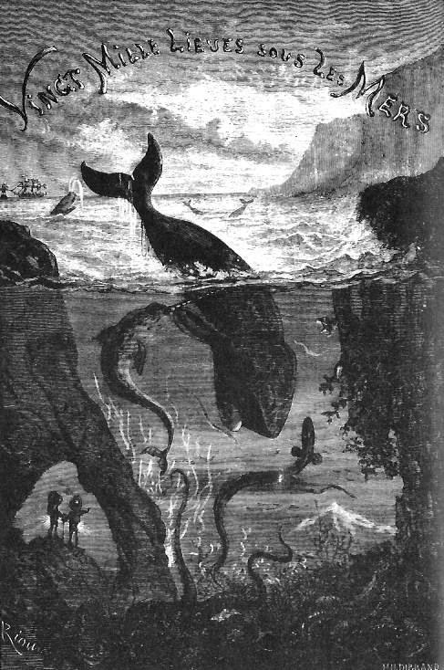 """Ilustración de las ballenas de """"Veinte mil leguas de viaje submarino"""""""