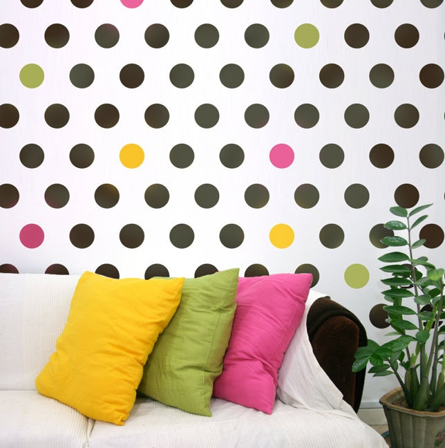 Wall stencil Polka Dot Allover LG - Easy stencil decor for Nurseries, Kids Rooms. $29.95, via Etsy.    I would love to do this on one wall in my bathroom.