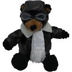 """PilotMall.com 12"""" Junior Black Bear Pilot Plush Corduroy Aviator"""