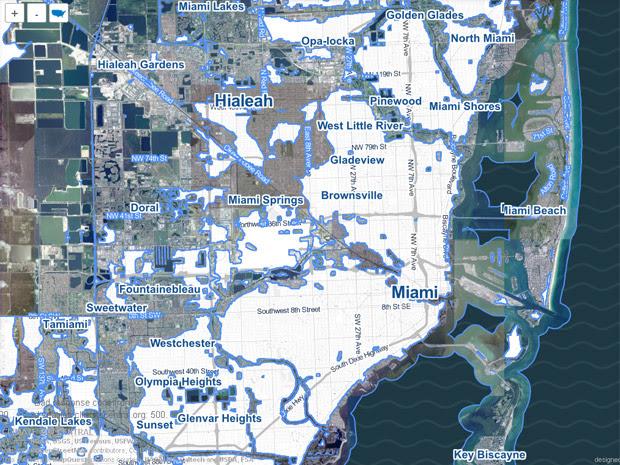 A Flórida, onde fica Miami, é uma das áreas que mais sofreriam os impactos de uma elevação de 1,2 metro do nível do mar. (Foto: Reprodução / Surging Seas)