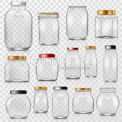 ガラス瓶ベクトル空のメイソン ガラスふた付きまたは缶詰容器または透明