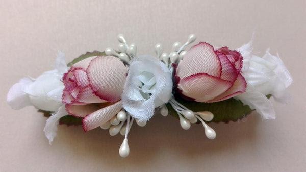 Pasador De Flores Rosas Medianas Blancas Y Rosas Dani Nola