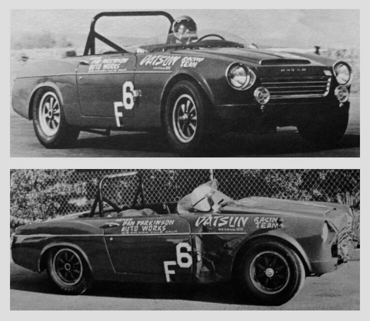 Datsun 1600 endurance race car - before and after