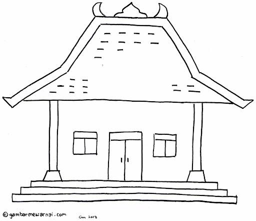 25 Mewarnai Rumah Joglo Terbagus Lingkar Png