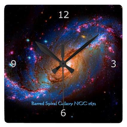 Barred Spiral Galaxy NGC 1672 Wallclock
