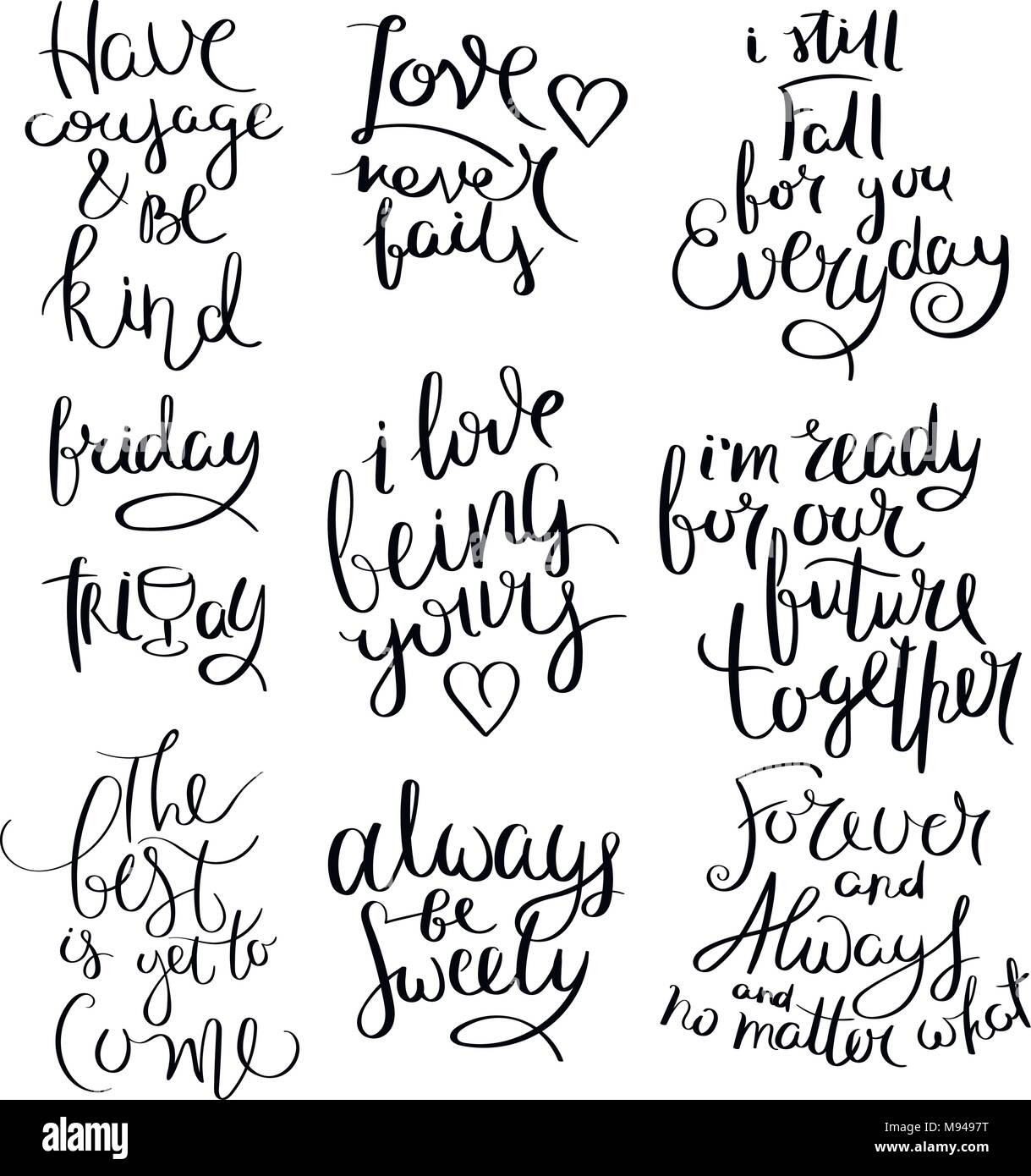 Collection Of Hand Written Calligraphy Quotes Motivation For Life