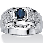 Men's 1.53 TCW Genuine Sapphire and CZ Ring