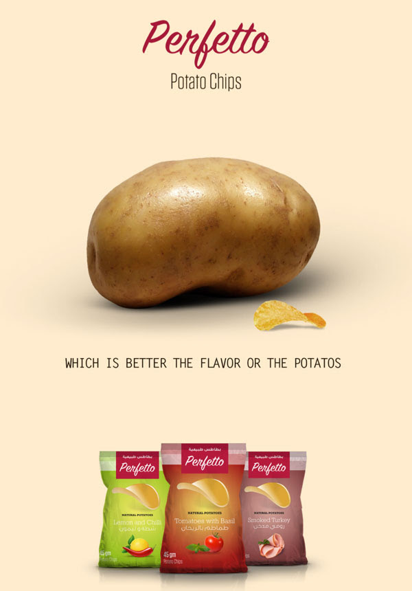 Perfetto Potato Chips Packaging design Campaign 1 30+ Crispy Potato Chips Packaging Design Ideas