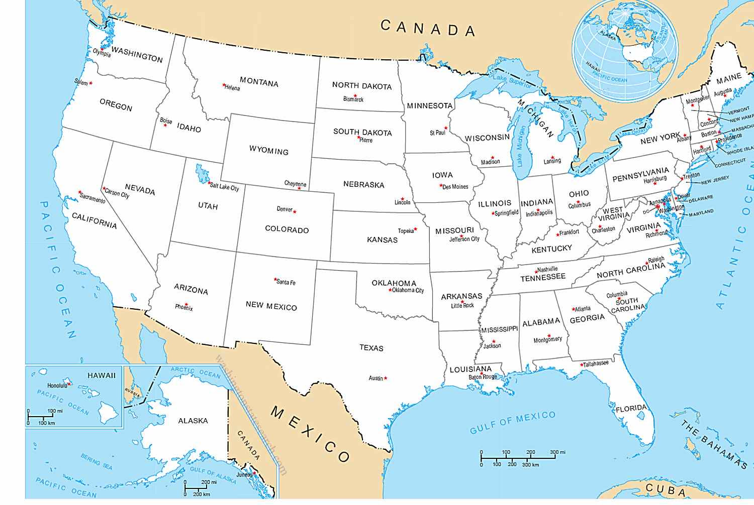 Us Map And Capitals And Cities