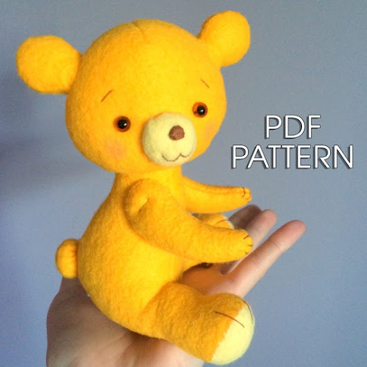 PDF Pattern. Felt Bear. Plush Doll Pattern Soft by FeltFantasyShop