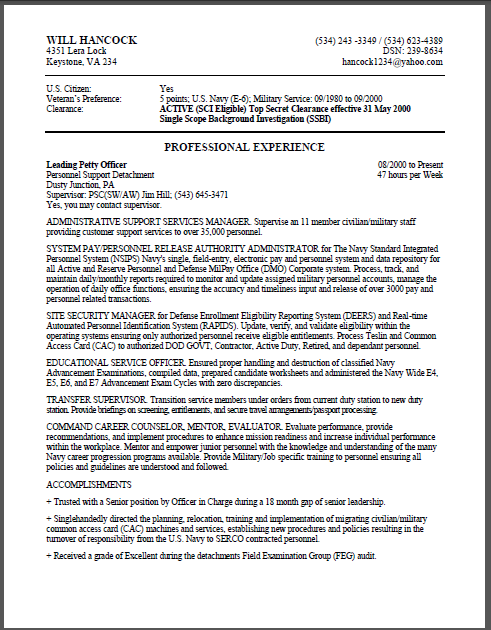 Federal resume example usajobs