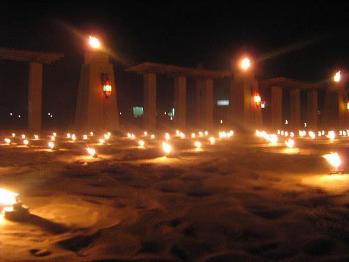 Candles lighting up the desert at the Dubai Film Fest closing ceremony 2