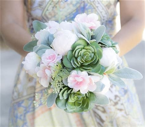 Succulents, Peonies and Pink Cherry Blossoms Natural Touch