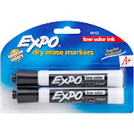 Expo Dry Erase Markers, Low Odor Ink, Chisel Tip, Black - 2 markers