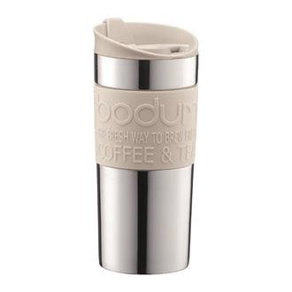 Lekker kaffekopp i offwhite fra Bodum. Perfekt på reisen. 0,35 l. Verdi 299 kroner.