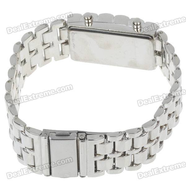 Stylish 8-LED Blue Light Digit Stainless Steel Bracelet Wrist Watch - Silver