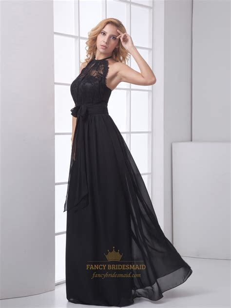 Black Chiffon Illusion Halter Top Open Back Prom Dress