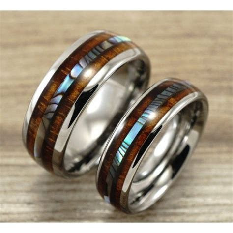 Tungsten Wedding Band Set with Mother of Pearl Abalone and