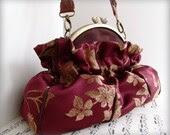 Garnet Burgundy Fancy Framed Shoulderbag Purse with Braided Leather Handle