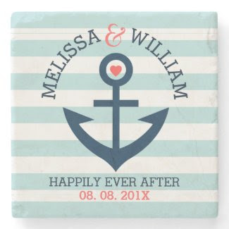Dark Blue Wedding Nautical Anchor Mint Stripes Stone Coaster