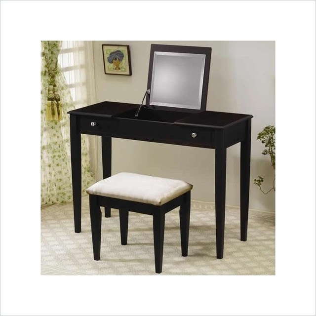 Coaster Wood Two Drawer Makeup Vanity Table Set with ...