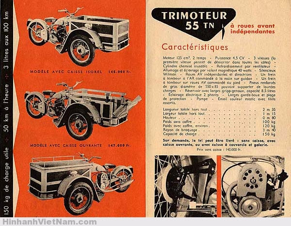 Triporteur Peugeot 55TN với 3 phiên bản khác nhau trong tài liệu của Peugeot