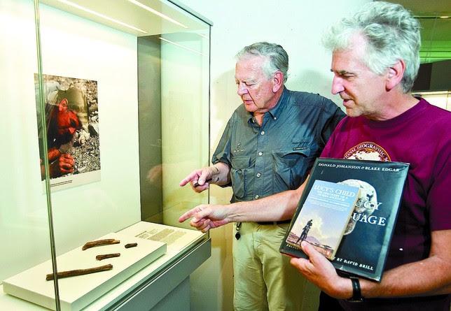 Johanson y Arsuaga observan las réplicas de los fósiles que el científico estadounidense halló en Olduvai (Tanzania) en 1986 (el de la foto, excavando, es él). Jesús J. Matías