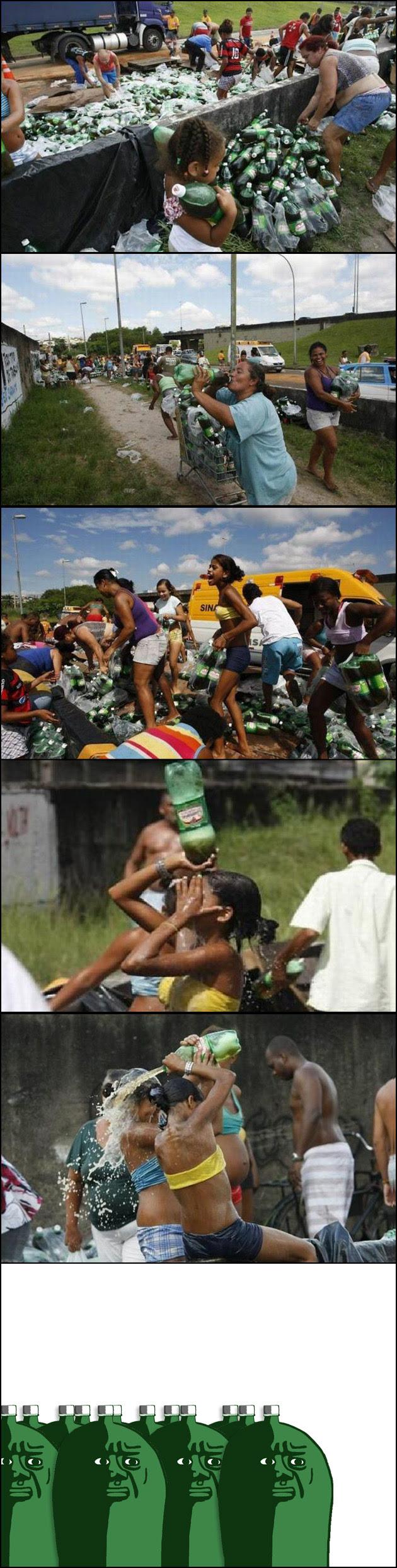 Camião de Guaraná virou e...