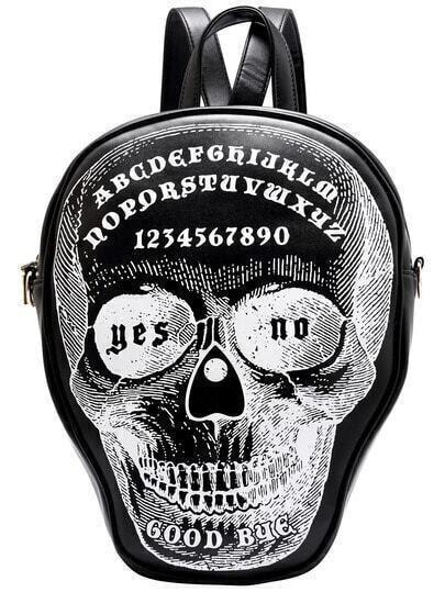 Black Letters Skull Print Backpack pictures