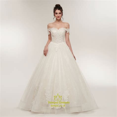 Off The Shoulder Cap Sleeve Beaded Applique Tulle Wedding
