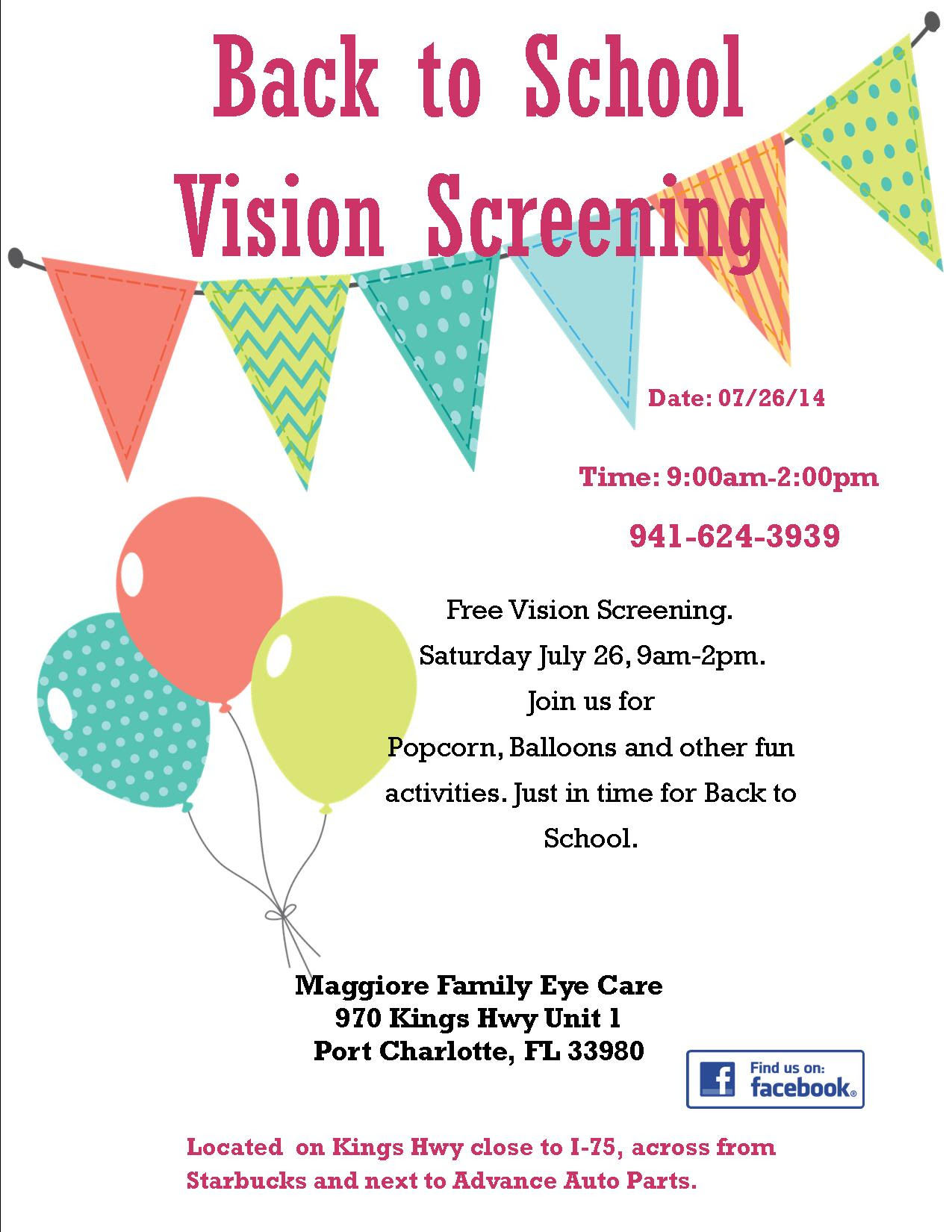 Back To School Vision Screening Port Charlotte Eye Doctor