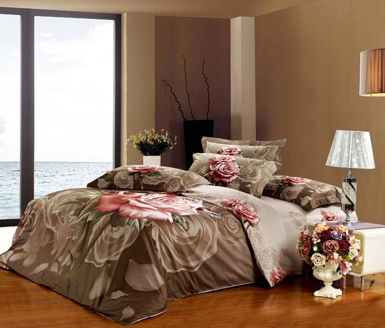 Buy cheap High Quality King size Bedding set Grey Rose Floral ...