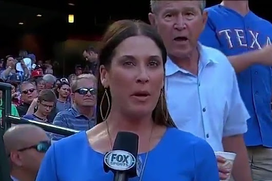 George W. Bush Photobombs Reporter at Rangers Game