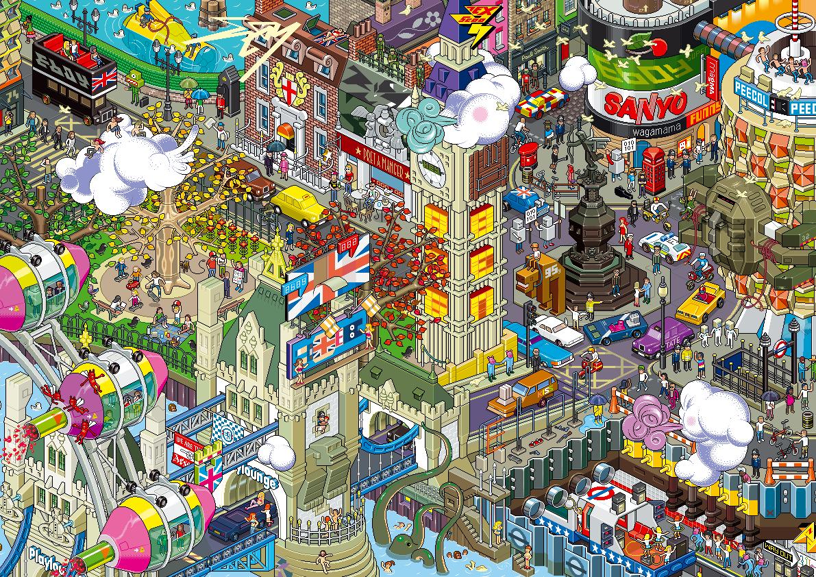 Eboy ville pixel art Londres Les villes pixelisés deBoy  design art