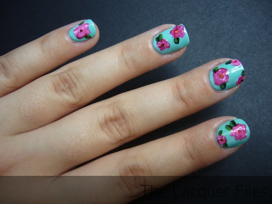 Nail Art Design Roses Catrice Berry Bazaar China Glaze For Audrey H&M Love at First Sight OPI Green-wich Village OPI Here Today, Aragon Tomorrow