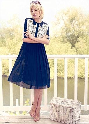 Pleated dress, £299, jaeger.com. Sandals, £60, dune.com. D&G sunglasses, £156, David Clulow, 0844 264 0870