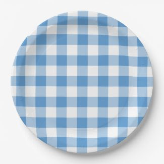 Light Blue and White Gingham Pattern 9 Inch Paper Plate