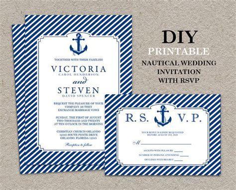 DIY Printable #Nautical #Wedding Invitation And RSVP Card