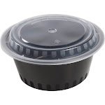 38 oz. Round Black Containers and Lids, Case of 150