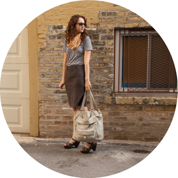 dash dot dotty, outfit blog, pencil skirt and tee, cloggy sandals, workfit, ootd, what to wear to work, gray