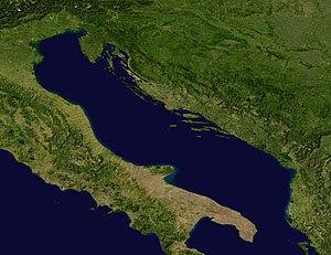 A satellite image of the Adriatic Sea.